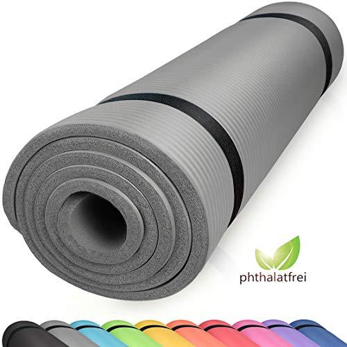 diMio Komfort-Gymnastikmatte Yogamatte in 185x60x1cm, 185x60x1.5cm, 185x90x1.5cm, 200x100x2 mit Tragegurt Phtalatfrei + SGS-geprüft (Urban Grey, 185 x 90 x 1.5 cm (XL))