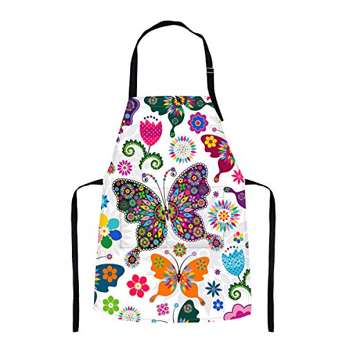 Britimes Apron Home Kitchen Waterproof Cooking Baking Gardening for Women Men with Pockets Floral Colorful Butterflies Flowers Romantic 32x28 inch