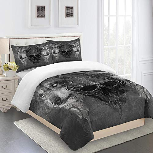 N / A 3D Bedding Set Animal Wolf 3 Pieces With Pillowcases Single Double King Bed Microfiber Bedroom Duvet Set 155X220Cm