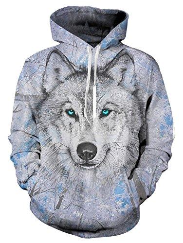Idgreatim Juniors 3D Bedruckte Wolf Hoodies Personalisierte Fleece Kapuzen Sweatshirt Large
