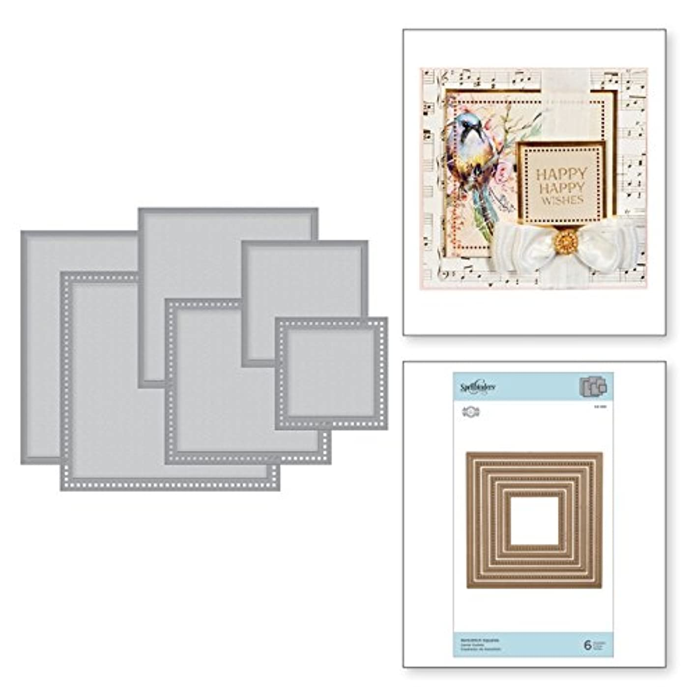 Spellbinders S4-929 Nestabilities Hemstitch Squares Etched/Wafer Thin Dies