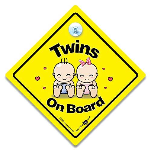"""Autoschild mit Aufschrift """"Twins On Board"""", für Jungen und Mädchen, mit Saugnapf"""