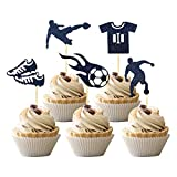 30 PCS Soccer Cupcake Toppers Black Glitter Football Shoes Clothes Cupcake Picks Soccer Sport Theme Kids Birthday Party Cake Decorations Supplies