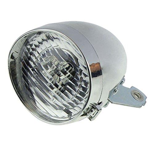 Gaoominy Retro Zubehör für Fahrrad vorne Halterung für Frontlicht Vintage 3 LED Scheinwerfer (Silber)