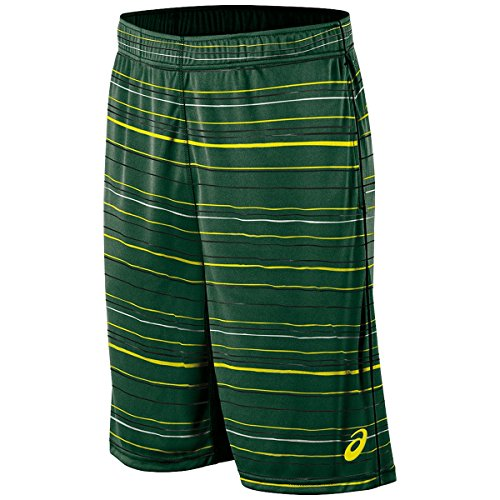 ASICS Pantalones Cortos de Punto de Tenis para Hombre de 9 Pulgadas, Hombre, 121685, Raya Gráfica Verde Roble, XXL