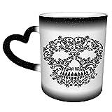 Tazza da caffè magica con ornamento tatuaggio teschio tribale bianco nero Un nuovo regalo da 11 once per famiglia, bambini e amici