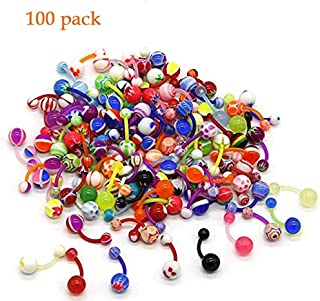 Belly Button Rings, Sweeethome Banana Barbells Piercing 100 Pack 14G Belly Piercing Rings Colored Acrylic Navel Rings Jewelry