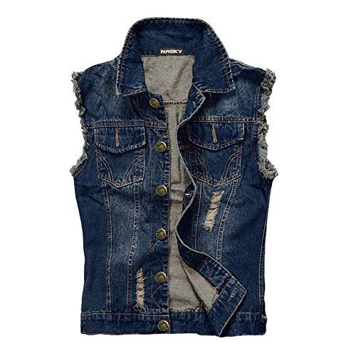 NASKY Fit Retro Männer zerrissene Jeans Denim Jacke Weste Westen Weste (Large, Dark Blau)