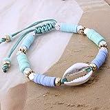 ZMMZYY Bracciale in Pietra,Fashion Blu Cielo Perline di Argilla Bracelete Shell Manuale di nazionalità Bohemia Bangle Accessori di Gioielli