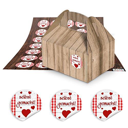 24 kleine Mini-Geschenkkarton Faltschachtel braun natur 9 x 12 x 6 cm ohne Griff + 24 runde rot weiß karierte Aufkleber SELBST-GEMACHT 3 cm als Pralinenschachtel, Gebäckbox