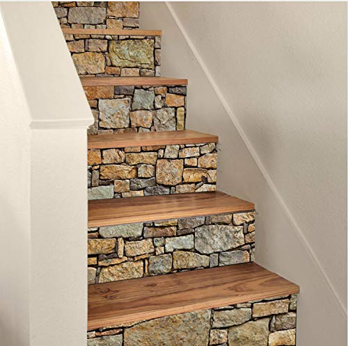 Zller2587 Treppenaufkleber Fliesen Stein Aufkleber Wasserdicht 3D Treppe Aufkleber Abnehmbare Selbstklebende Wand Boden Aufkleber DIY Möbel Dekor 6Pcs / Set18 * 100Cm