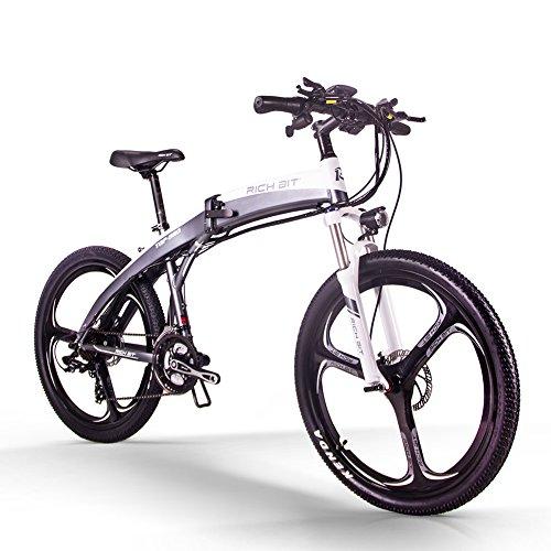 RICH BIT vélo électrique TOP-880 vélo de Montagne Pliant électrique 26 Pouces 36 V 250 W 9.6Ah Ebike TEKTRO Frein à Disque hydraulique vélo électrique (Noir et Blanc)