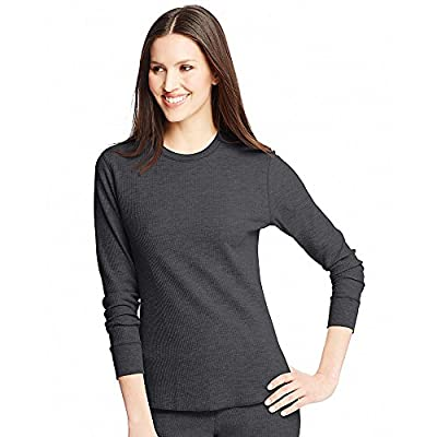 Hanes Women's X-Temp Thermal Crew Black