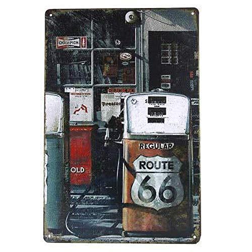 Cartel de chapa de metal para decoración de pared con diseño de Ruta 66, estilo retro, estilo vintage, para cafetería, bar, cerveza, pub, 20,3 x 30,5 cm