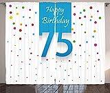 ABAKUHAUS Party Rustikaler Gardine, Konfetti Regen Punkte, Schlafzimmer Kräuselband Vorhang mit Schlaufen und Haken, 280 x 175 cm, Mehrfarbig