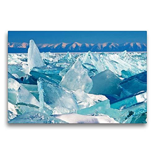 CALVENDO Premium Textil-Leinwand 75 x 50 cm Quer-Format Russland: EIS auf dem Baikalsee im Hintergrund der Ural, Leinwanddruck Verlag