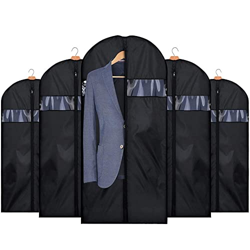 HOUSE DAY Garment Bags 5 Pack 60 inch Travel Garment Bags Washable Suit Cover for Dresses,Suits,Coats black