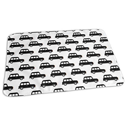Londen Black Cab Taxi Jongens Auto Zwart en Wit Retro Bed Pad Wasbaar Waterdichte Urine Pads voor Baby Peuter Kinderen en Volwassenen 27.5 x19.7 inch