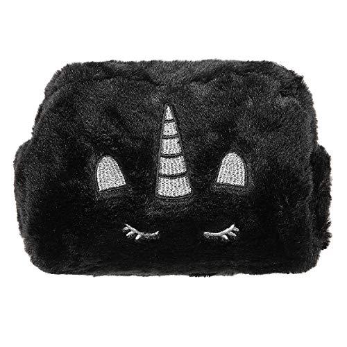 HUGMO Bolsa de maquillaje de viaje con diseño de unicornio, gran capacidad para artículos esenciales para mujeres y niñas (negro)