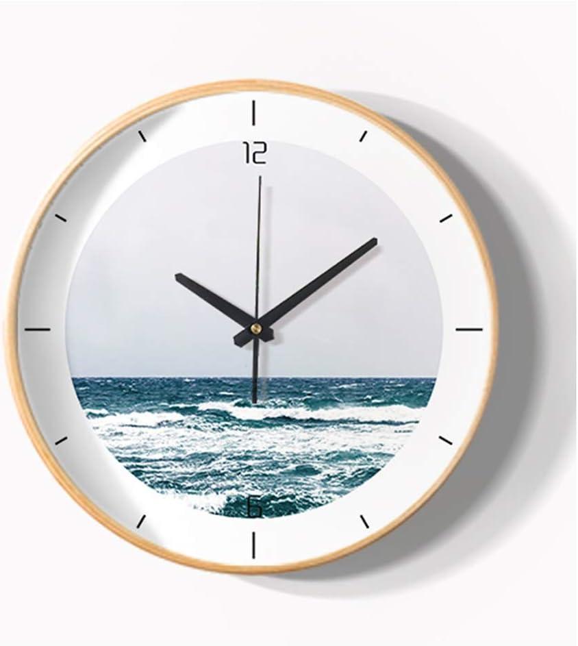 ZCYXQR Reloj Reloj de Pared silencioso Sala de Estar Decoración de Pared Dormitorio Cocina Relojes sin tictac Fácil de Leer Grande Digital Solid Woo (Adornos para el hogar)