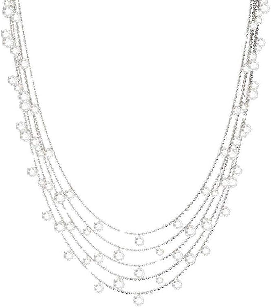 Rebecca collana 5 fili per donna in argento 925 con pietre bianche SLCKBB45
