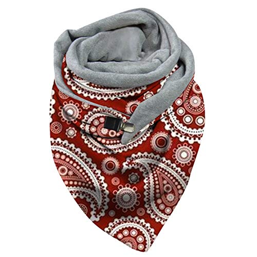 Autumn and Winter Women's Printing Scarf Fashion Retro Multi-Purpose Shawl Button Scarf Soft Outdoor Keep Warm from Vanankni