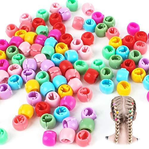 200Pcs Mini Haar Klammer Mini Haarclips Haarspangen Bunte Perle Haar Nadeln Kunststoff Regenbogen Perlen Clip für Kinder Mädchen Frauen