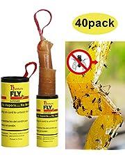 Hywean 40 Piezas de Papel Fly Catcher, Juego de Moscas de Frutas pegajosas para Interiores y Exteriores, Control de Moscas, Mosquitos y Otros Insectos voladores