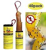Hywean 40 Stück Fliegenfänger Rollen, Insektenfänger,Fliegenfalle Umweltfreundlich für drinnen draußen MEHRWEG