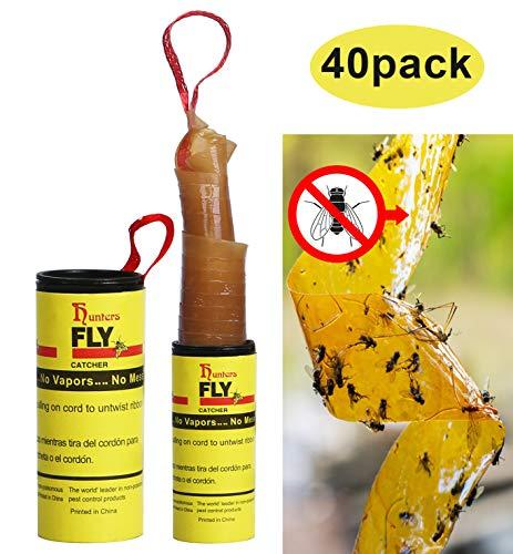 Hywean Fliegenfalle Klebestreifen Fliegenfänger Leimrollen, Fliegenband gegen trauermücken Fruchtfliegen und Obstfliegen Für drinnen und draußen 40pcs MEHRWEG
