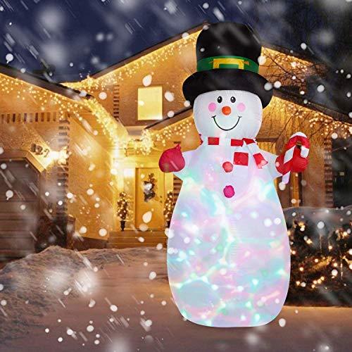 YQing Muñeco de nieve inflable de 7 m, decoración de muñeco de nieve gigante con bolsa de regalo, luces LED, decoración de Navidad, fiesta familiar, césped de jardín, interior y exterior (Reino Unido)