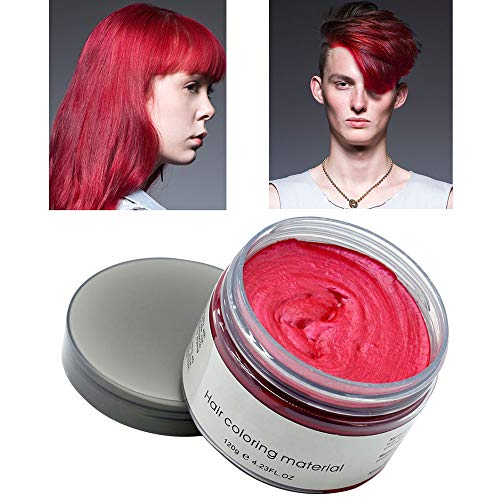 MOFAJANG Hair Color Wax Styling Cream Mud, Temporary Hair Dye Wax, Natural Hairstyle Dye Pomade for Party Cosplay, Halloween, 4.23 OZ,Red