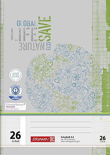 Brunnen 104412601 Schulheft Recycling A4 (16 Blatt, kariert, Lineatur 26, mit Rand)