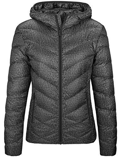 Wantdo Women's Packable Lightweight Down Jacket Windproof Coat Dark Gray XL