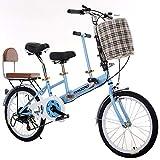 ZCPDP Bici a Due posti per Auto Genitore-Figlio Leggera Mini Bici Rimovibile Piccola Bici Portatile Pieghevole da 20 Pollici in Acciaio al Carbonio ad Alta velocità