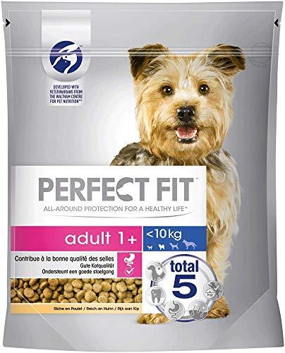 Perfect Fit Adult 1+ – Trockenfutter für erwachsene Hunde unter 10 kg – Reich an Huhn – Unterstützt die Vitalität von kleinen Hunden – 5 x 825 g