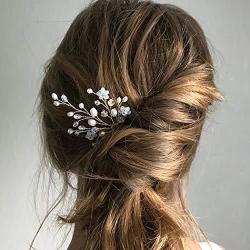 Horquillas para el pelo Fairvir para novia, diseño de flores plateadas con...