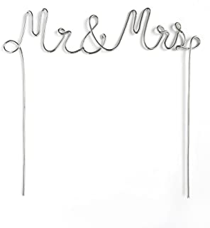 MR. & MRS. SILVER METAL CAKE TOPPER