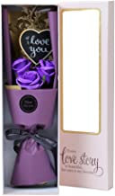 Scrafts Purple Scented Bath Soap Rose Bouquet & Love You Message Gift Box Set