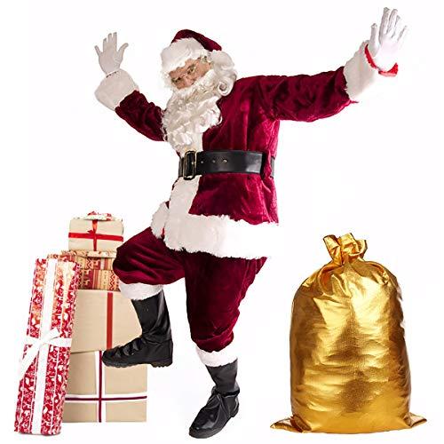 Christmas Santa Claus Costume Set Men's Santa Costume Deluxe Santa Suits (OneSize, Red)