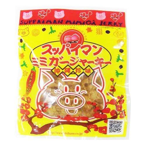 スッパイマン ミミガージャーキー 13g×12袋 オキハム 上間菓子店のスッパイマンとコラボ コリコリのミミガー(豚耳皮)を赤唐辛子と梅で仕上げた逸品 沖縄土産におすすめ
