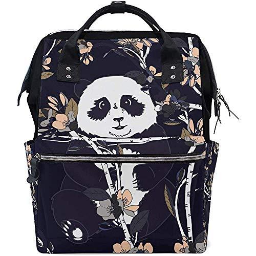 Daypacks Niedliche Tier Panda Blume Windel Reiserucksack Baby Taschen 28X18X40Cm Große Kapazität Reißverschluss Multifunktionale Casual Unisex Rucksäcke Mama Papa