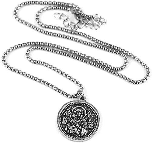 WYDSFWL Collar Maravilloso Collar de Medalla para Hombre Icono ortodoxo Collar de joyería Religiosa Griega