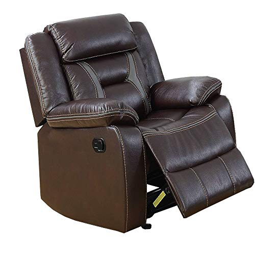 Poundex F6796 F6796 sillón reclinable Color Marron Oscuro tapizado en Bonded Leather, Color marrón Oscuro, Pack of/Paquete de 1