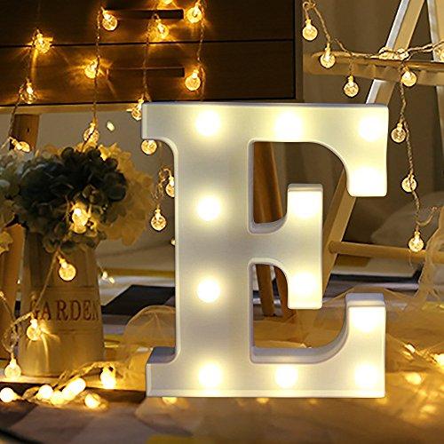 sunnymi Alphabet LED Brief Lichter leuchten weiße Kunststoff Buchstaben Stehen Hängen A bis Z & Wortkombination Home Garten Hotel Geschäft Dekor (E, 22 * 18cm*4.5cm)