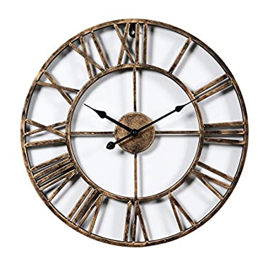 XSHION Wall Clocks 20 Inch Round Retro Rustic Battery Operated Decorative Vintage /Wall Clock Metal Art Easy to Read Wall Clock for Home/ Kitchen/ Living Room Golden Color