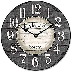 Wall Clock 15 Round Wood Clock, Rustic Wall Clock Boston Harbor Gray Wooden Decorative Round Wall Clock Design Indoor Design Ultra Quiet Non ticking Whisper Quiet Battery Operated Hanging Clock