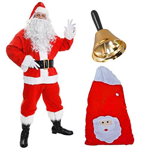 Disfraz de Papá Noel de Lujo para Adulto - Chaqueta roja + Pantalones y Sombrero a Juego + Accesorios - Disfraz de Navidad de Papá Noel para Hombre (pequeño)
