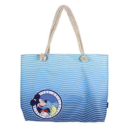 Cerdá Unisex-Kinder 2100002926 Mickey Mouse Strandtasche-100% Baumwolle, Azul, Grande