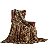 MERRYLIFE Throw Blanket Decorative Fleece Throw | Ultra-Plush Colorful Oversized | Couch Blanket Travel Lap | Large Size(60' 90',Cheetah)